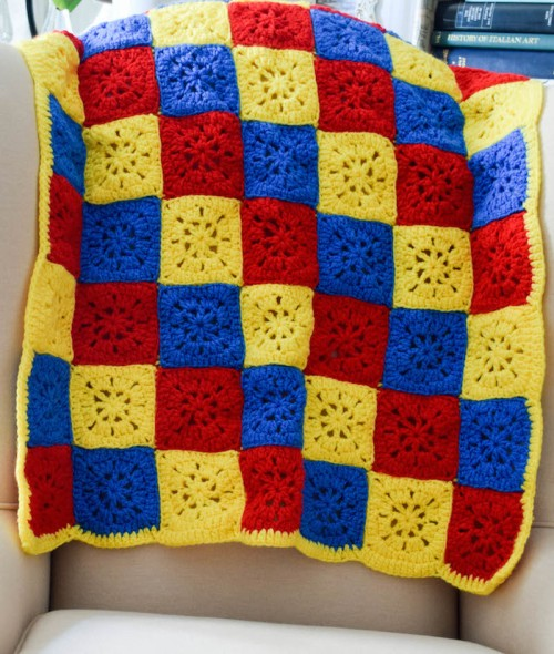 Checkerboard Primary Colors Crochet Blanket - Free Pattern