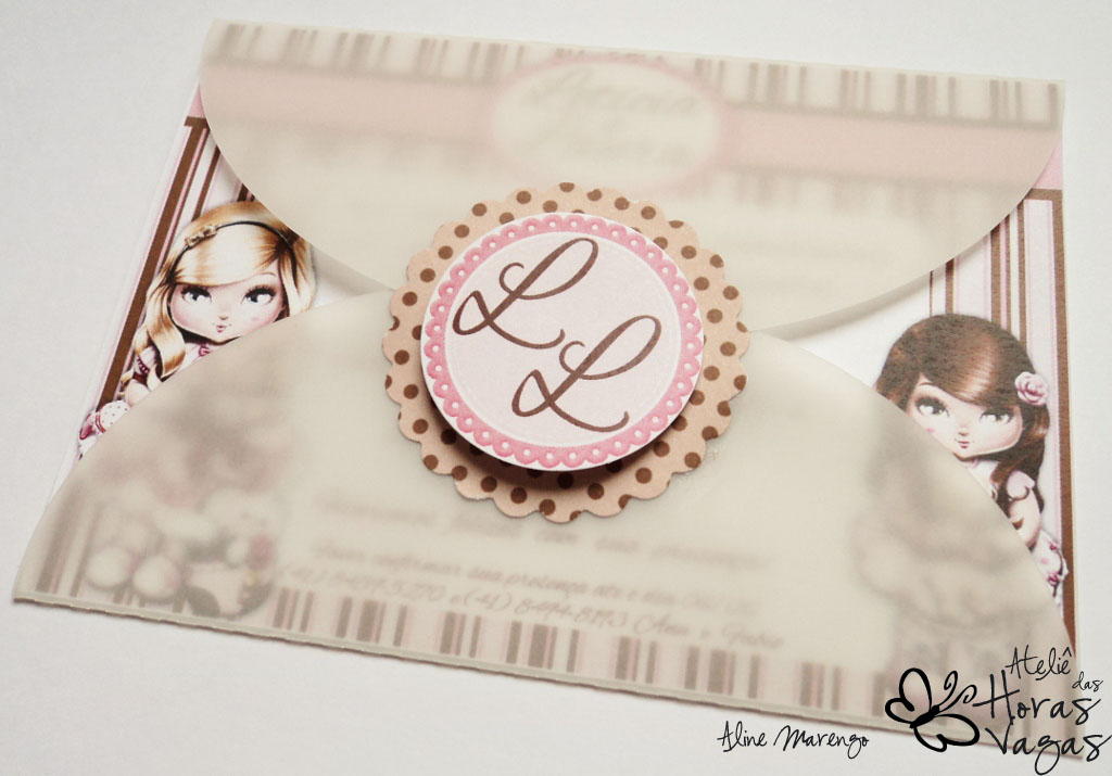 convite artesanal provençal bonecas Jolie poá marrom rosa aniversário menina