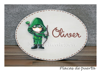 placa de puerta infantil Arrow nombre Oliver babydelicatessen