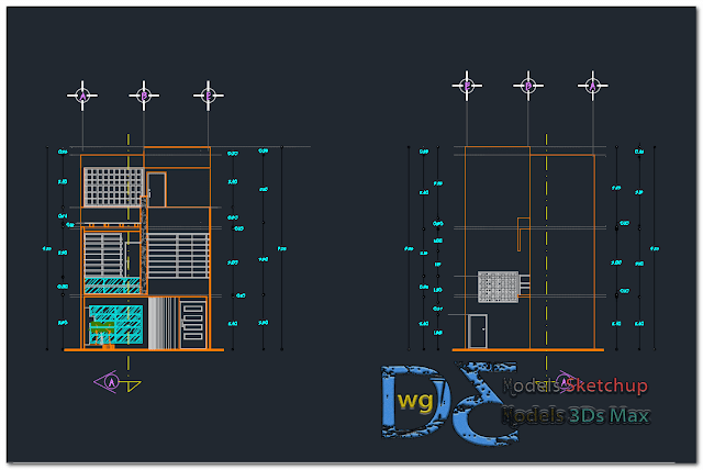 Storey house in AutoCAD