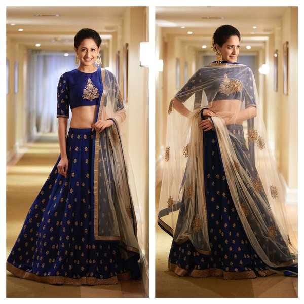Pragya Jaiswal in Jayanti Reddy Royal Blue Embroidery Lehenga