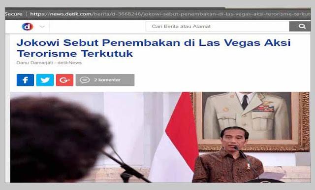 Jokowi Kutuk Penembakan di Las Vegas, Netizen: Pembantai Muslim Rohingya Kok Belum Dikutuk?
