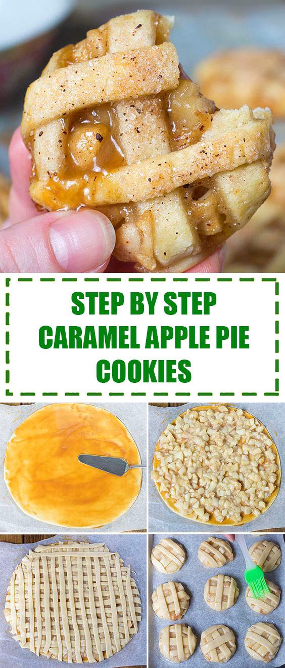 Step by Step Caramel Apple Pie Cookies