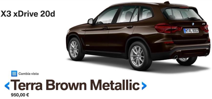 colori nuova bmw x3 2017 2018 Terra Brown Metallic