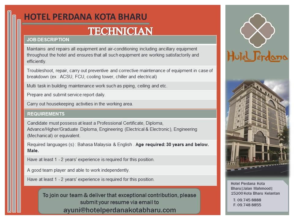 Jawatan Kosong Di Hotel Perdana Kota Bharu