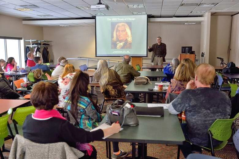 Dr. John Low lecturing on The Pokagon Band of Potawatomi Indians- Survival and Revival Through Storytelling, February 25, 2015. Image Courtesy of Timothy E. Black, DMIN Photography.