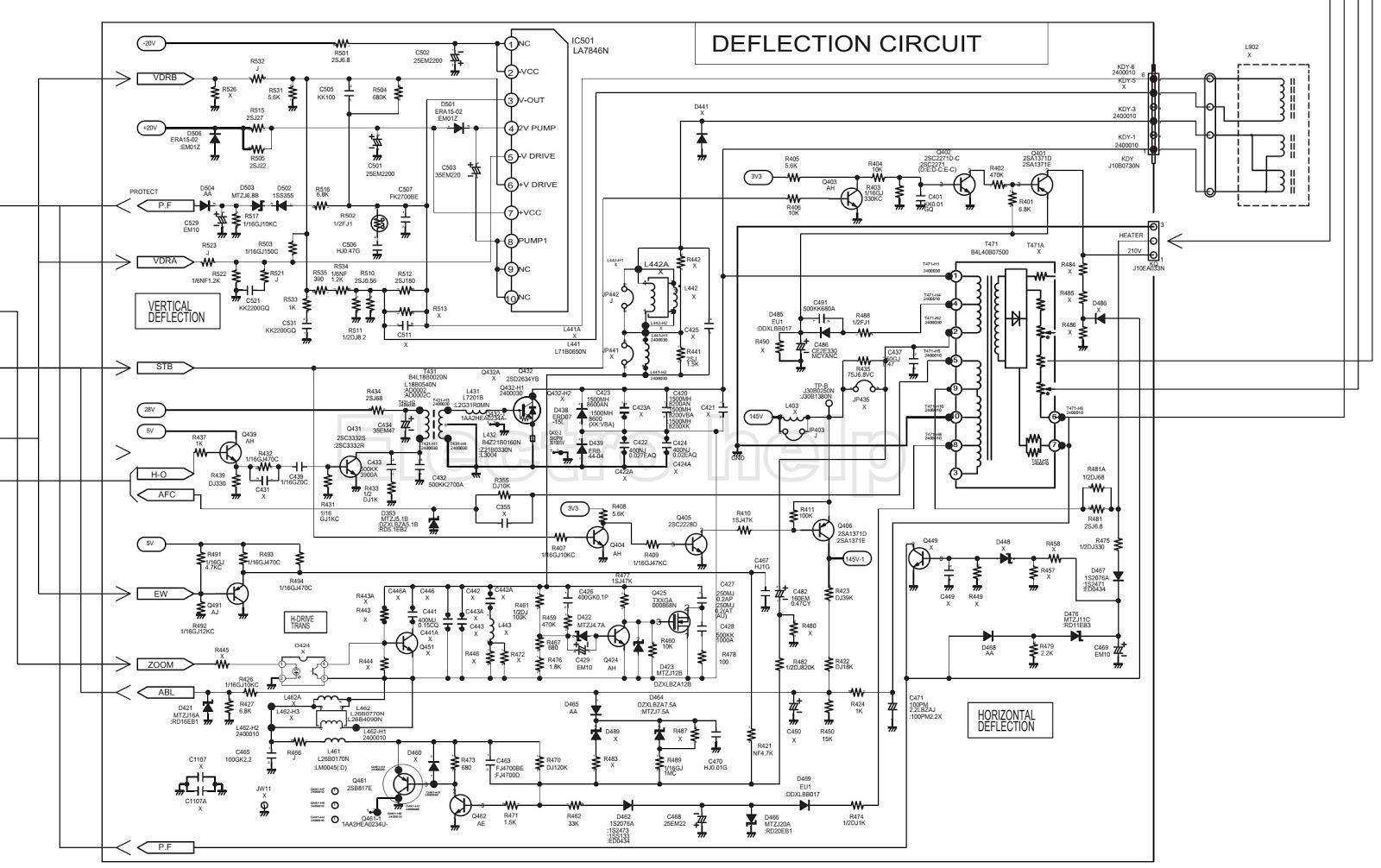 SCHEMATIC – Sanyo CM29FS2 – CRT TV  Voltage Chart