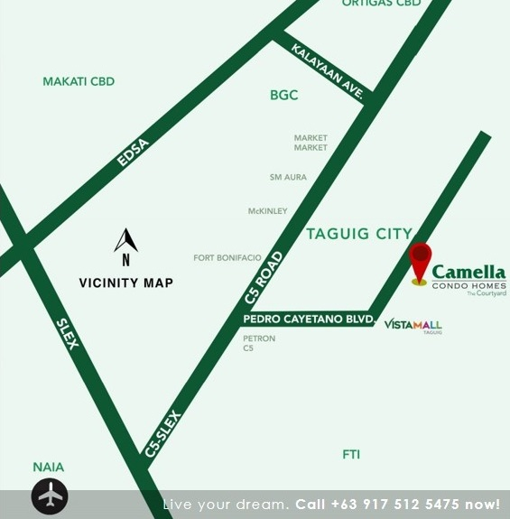 Vicinity Map Location Studio With Balcony 23.79 Sqm - Camella Condo Homes Taguig | Camella Condominium for Sale Taguig City