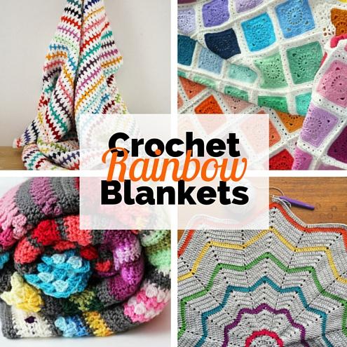 Crochet rainbow blankets: 6 free crochet patterns | Happy in Red