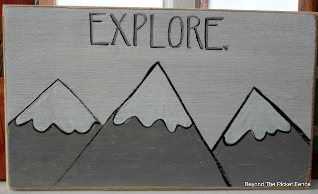 Explore Mountain Sign on Salvaged Wood