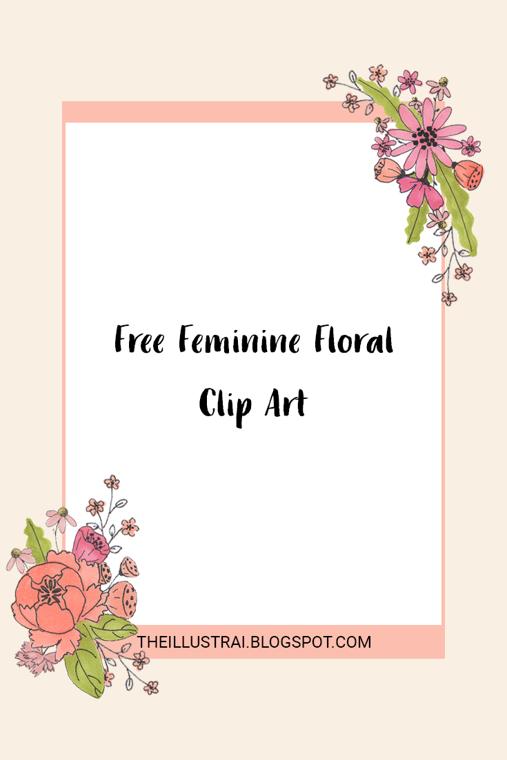 Download the free feminine floral clip art set to use for any personal projects. There are 21 individual pieces, which includes 7 floral bundles.