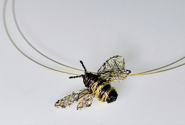 Bee pendantt, art necklace
