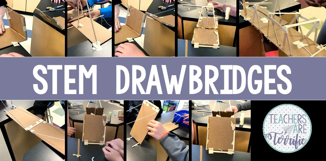 Let's try a drawbridge! Here's a terrific STEM challenge! It's all about using school supplies for building and that supply is brand new pencils!  In this challenge, students will design and build a drawbridge that follows specific constraints. The final structure must open and close in some way. Included are two versions that use different materials instead of pencils. Lots of choices in the use of this challenge. Editable lab sheets and constraints posters are provided. #STEM #engineering
