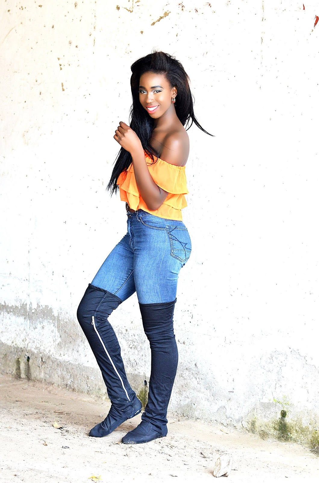 thigh high boots, how to style thigh high boots, off shoulder top, orange of shoulder top, Kenyan fashion blogger, style with ezil