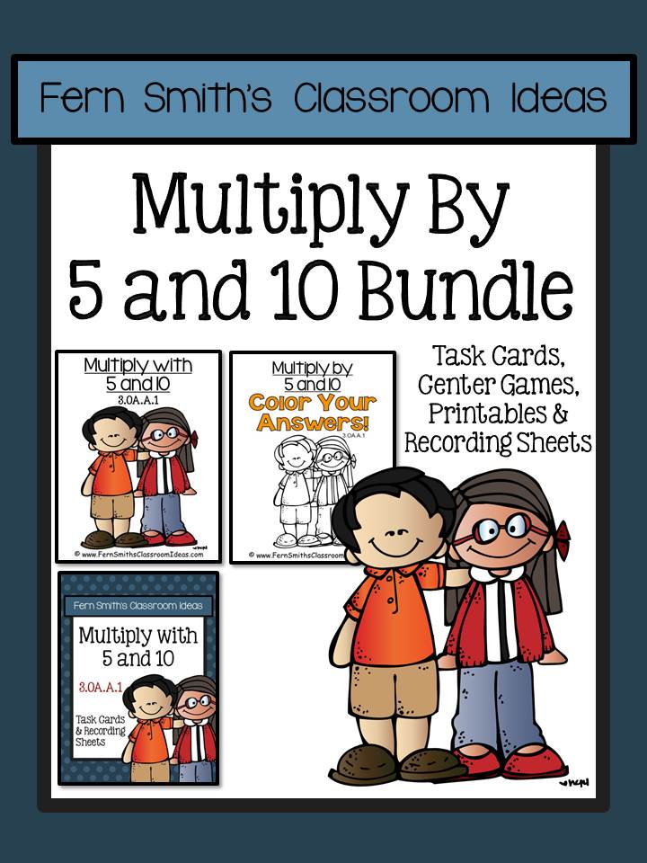 Fern Smith's Classroom Ideas Multiply with 5 and 10 Task Cards Recording Sheets & Centers Bundle 3.OA.A.1