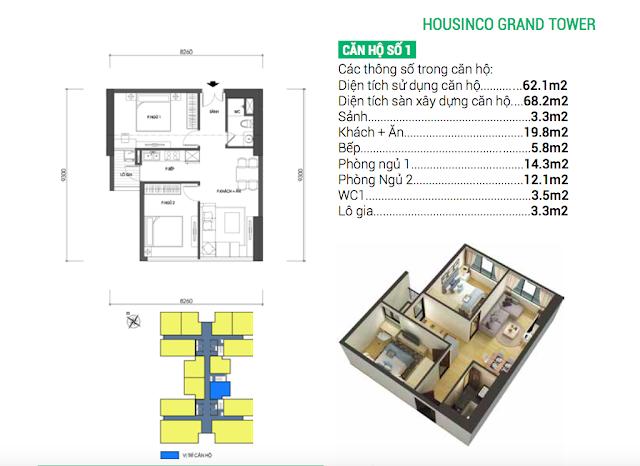 Thiết kế căn số 01 chung cư Housinco Grand Tower