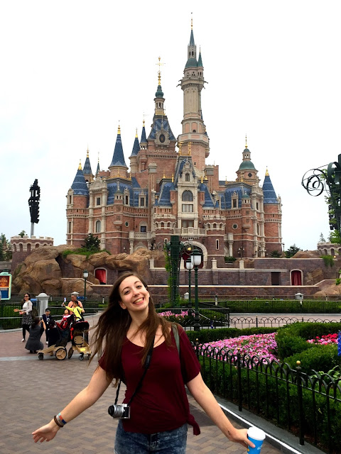 Posing at the Enchanted Storybook Castle, Shanghai Disneyland, China