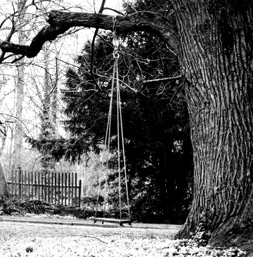 Blog + Fotografie by it's me! - fim.works - Magische Mottos - Strukturen & Rhythmen - SchwarzWeissBlick No 2 - verlassene Holzschaukel