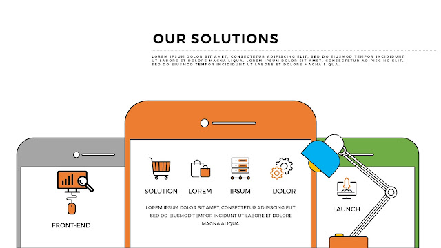 Our Solutions Presentation with Smartphone Vector Elements
