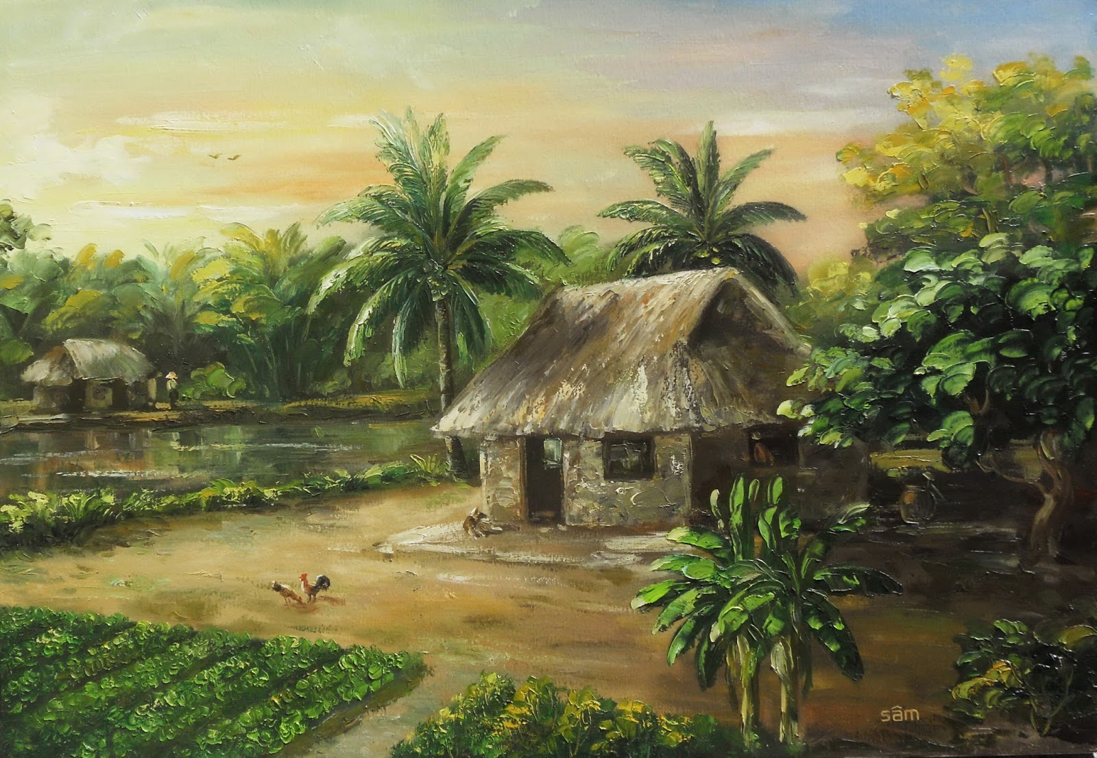 LÊ SÂM   vẽ tranh sơn dầu: tranh phong canh lang que Viet
