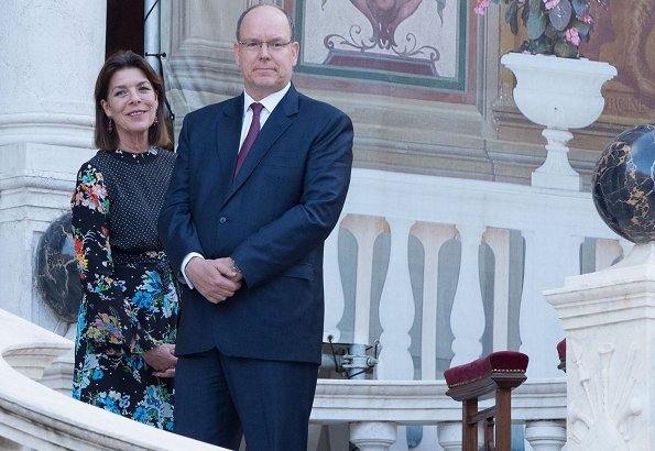 Prince Albert of Monaco procession from Galerie Hercule.Princess Caroline wore RIXO LONDON Chrissy patchwork printed silk crepe de chine midi dress
