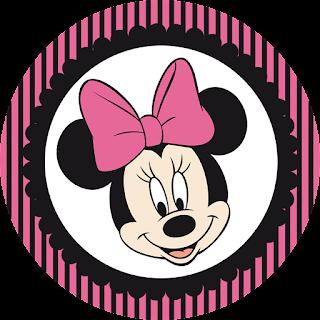 Toppers o Etiquetas de Minnie Rosa y Negro para imprimir gratis.