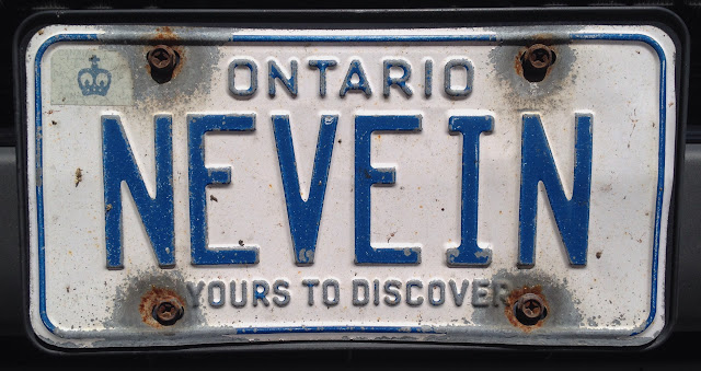 NEVEIN Ontario personalized licence plate