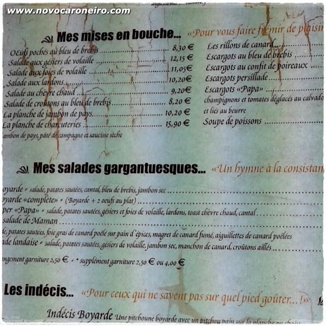 Cardápio francês, por novocaroneiro.com