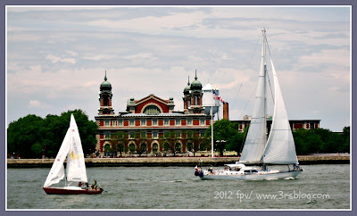 Sailboats passing Ellis Island, 6/3/12