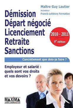 Démission, départ négocié, licenciement, retraite, sanctions PDF