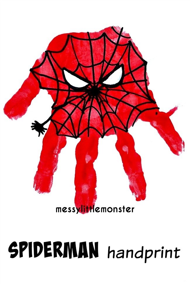 How to make a Spiderman Superhero Handprint.  A simple craft for kids or father's day idea.