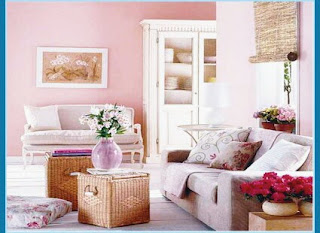 The Design Of The Living Room Sofa With A Pastel Pink Color
