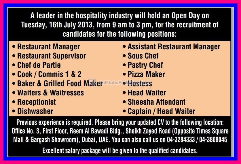 hospitality industry jobs  dubai uae gulf jobs  malayalees