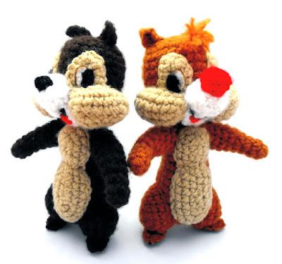 Ardillas Chip y Dale amigurumi tejidas en crochet