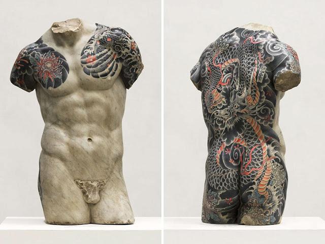 ルネサンスの彫刻に日本の和彫を施したアート【a】 イタリアのアーティストファビオ・ビアレ