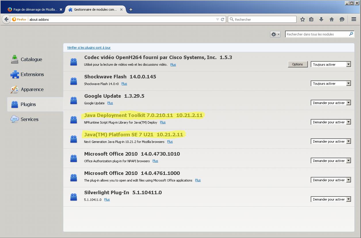Installer Java dans Firefox (sous Windows)