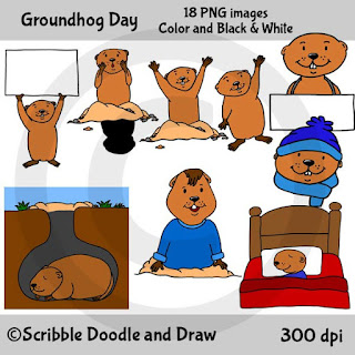 Groundhog's day clip art sleeping, hibernating, waving, in his hole, holding a sign