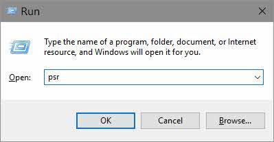 Run Command PSR to open Windows Steps Recorder