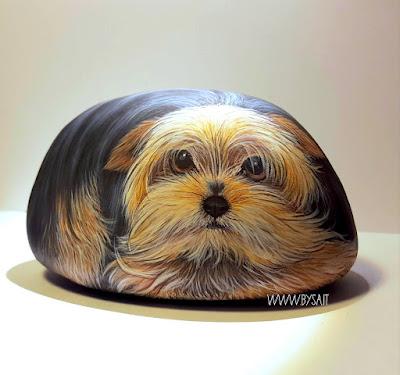 Sassi dipinti cani Yorkshire