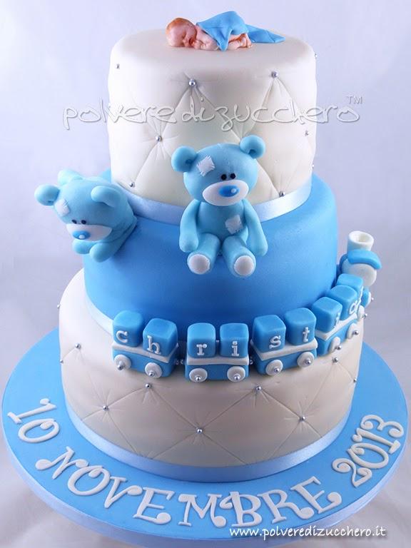 Super Torta Battesimo con orsi per un bimbo | Polvere di Zucchero:cake  PS74