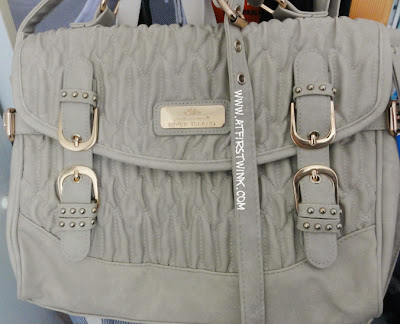 Beige River Island satchel with gold buckles