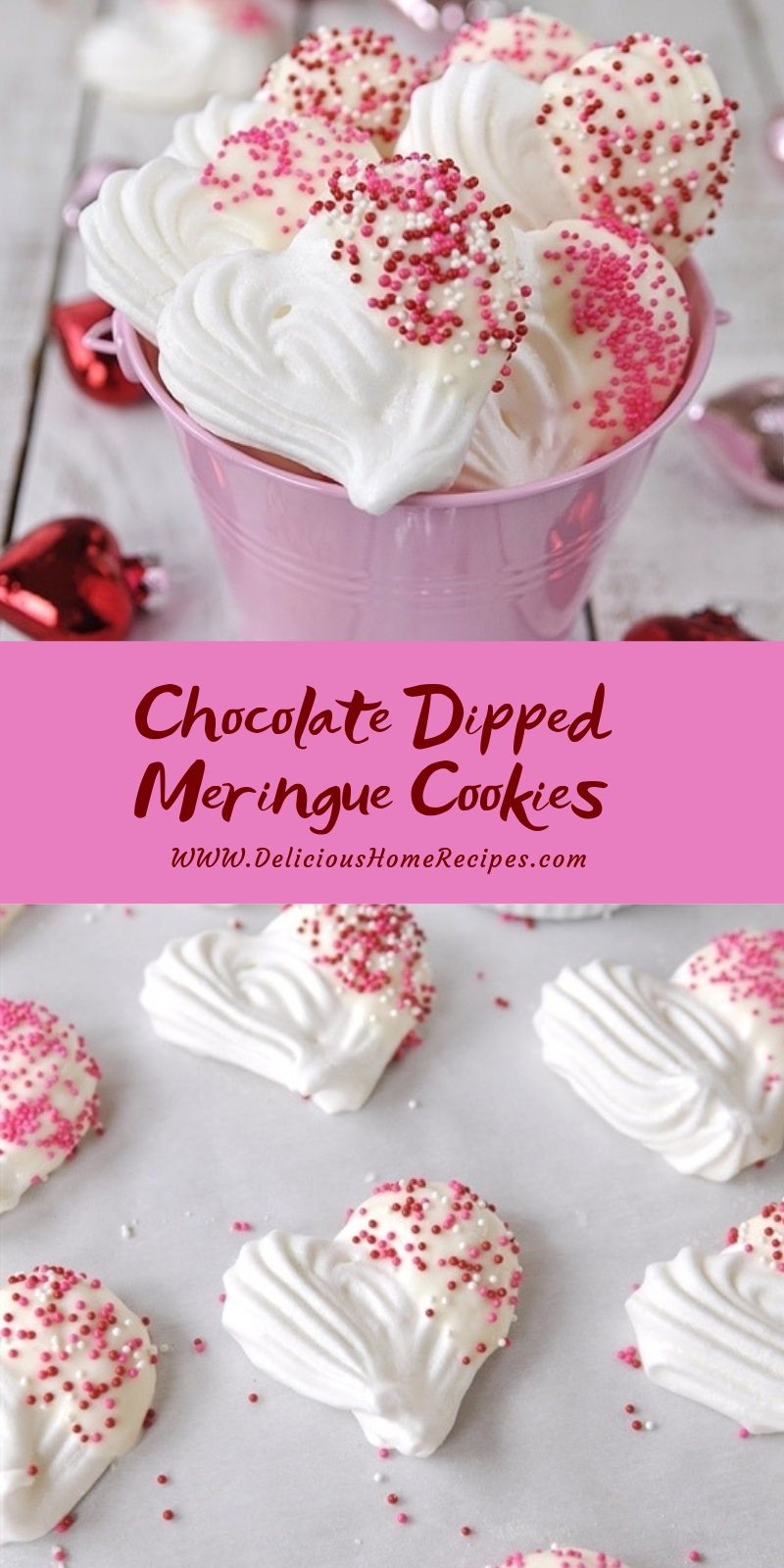 Chocolate Dipped Meringue Cookies #valentine #dessert