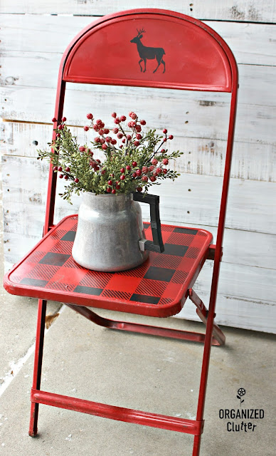 Vintage Child's Folding Chair to Rustic Christmas Decor #Christmasjunkfavs #thriftshop #thriftshopmakeovers #stencil #oldsignstencils #buffalocheck #buffalochecks #rusticChristmas