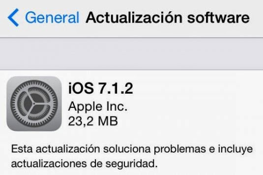 Actualización iOS 7.1.2 disponible para su descarga