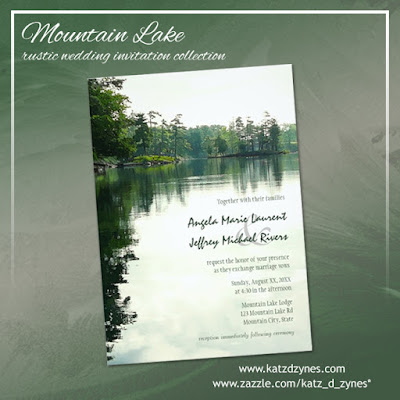mountain lake rustic wedding invitation set