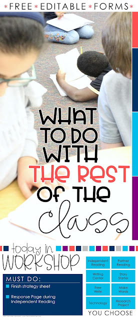 """""""What to Do with the Rest of the Class during Reading Workshop or Roations"""" Blog post from The Thinker Builder with info, ideas, and tips for how to structure your time so while you meet with small groups, the rest of the class is engaged in meaningful tasks. With free download of editable slides and student sign-up forms."""