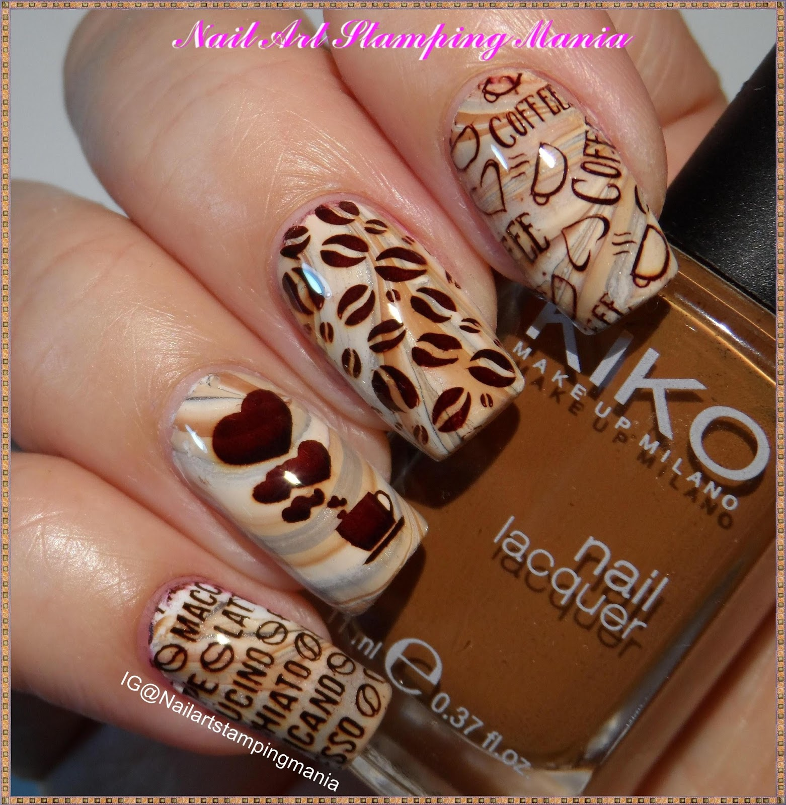 Nail Art Stamping Mania Coffee Manicure With Uber Mini Coffee