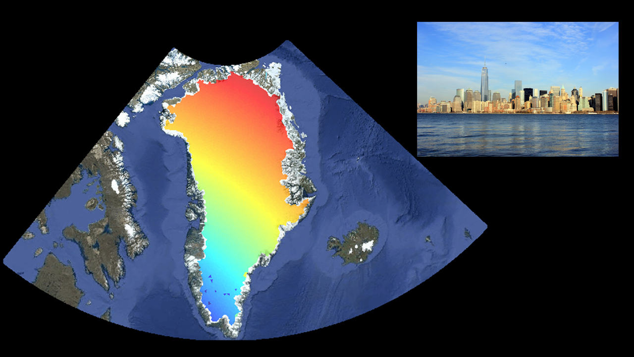 the contribution of melting ice in greenland to sea level rise in new york city inset red indicates the greatest sea level contribution