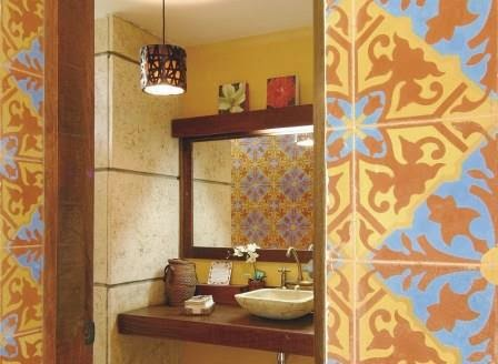 Handmade Alcala Cement Tile on a bathroom wall.