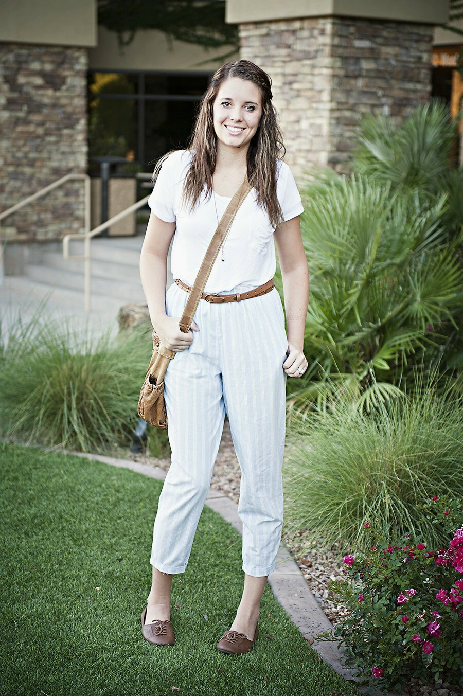 Brown Belt, Striped pants, White top